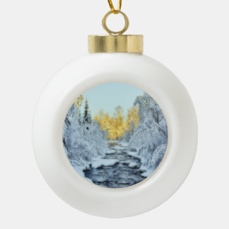 Wintery Stream Ceramic Ball Christmas Ornament