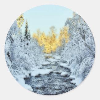 Wintery Stream Classic Round Sticker