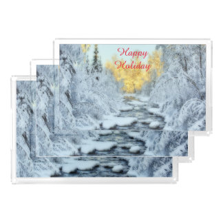 Wintery Stream Rectangle Serving Trays