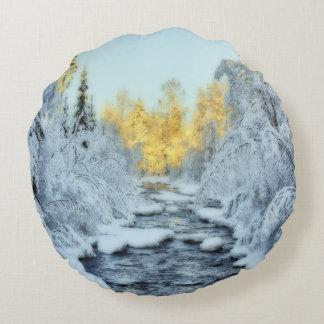 Wintery Stream Round Pillow
