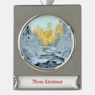 Wintery Stream Silver Plated Banner Ornament