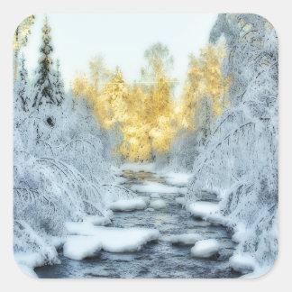 Wintery Stream Square Sticker