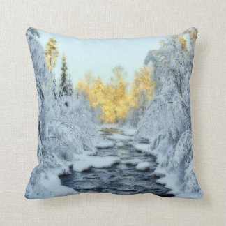 Wintery Stream Throw Pillow
