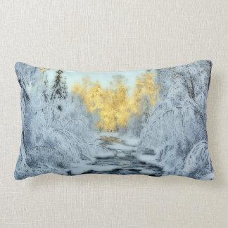 Wintery Stream Throw Pillows