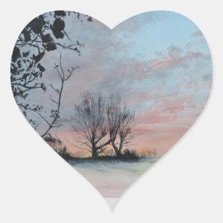 Wintery Sunrise Heart Sticker