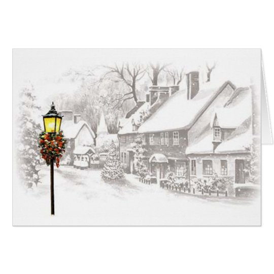 Wintery Town Thank You Card