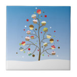 Wintery Tree of Cupcakes Small Square Tile
