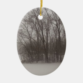 Wintery Trees Ceramic Ornament