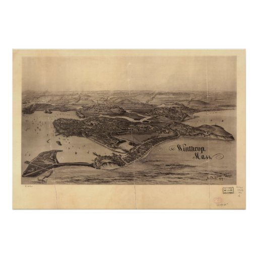 Winthrop Massachusetts 1894 Antique Panoramic Map Posters