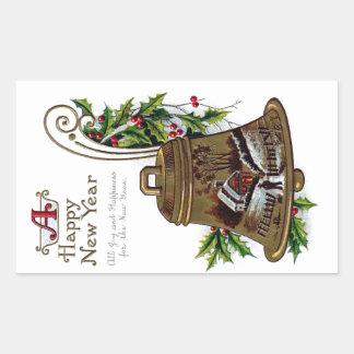 Wintry Brass Bell Vintage New Year Rectangular Sticker