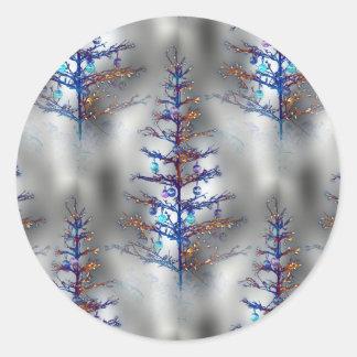Wintry Christmas Tree Classic Round Sticker