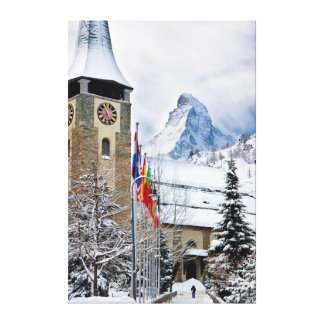 Wintry Church With Matterhorn In Background Canvas Print
