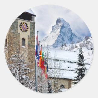 Wintry Church With Matterhorn In Background Classic Round Sticker