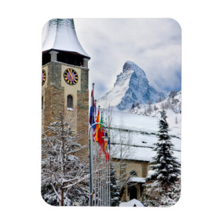 Wintry Church With Matterhorn In Background Magnet