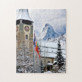Wintry Church With Matterhorn In Background Jigsaw Puzzle