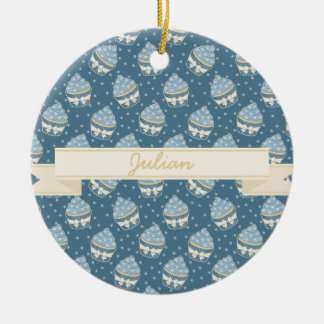 Wintry Cupcake Pattern and Ribbon Ceramic Ornament