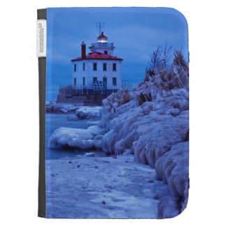 Wintry, Icy Night At Fairport Harbor Lighthouse Kindle Cases