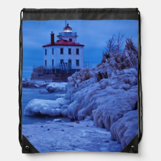 Wintry, Icy Night At Fairport Harbor Lighthouse Drawstring Bag