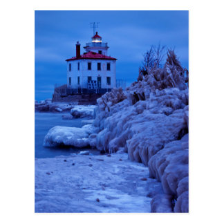 Wintry, Icy Night At Fairport Harbor Lighthouse Postcard