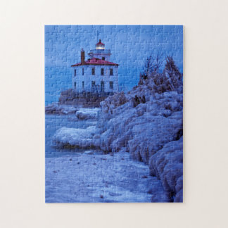 Wintry, Icy Night At Fairport Harbor Lighthouse Jigsaw Puzzles