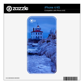 Wintry, Icy Night At Fairport Harbor Lighthouse iPhone 4S Decals