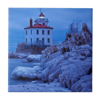 Wintry, Icy Night At Fairport Harbor Lighthouse Ceramic Tile