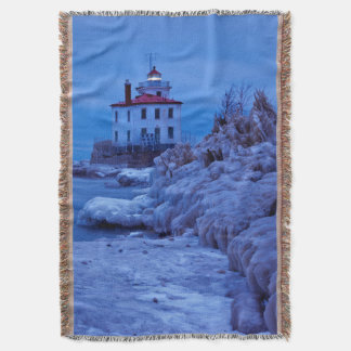 Wintry, Icy Night At Fairport Harbor Lighthouse Throw Blanket