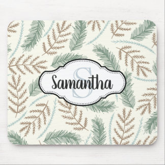 Wintry Pine Monogrammed Mouse Pad