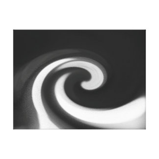 Wintry Snow Wave Abstract Black & White Wall Art Gallery Wrapped Canvas