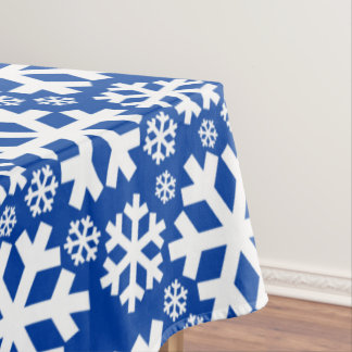 Wintry Snowflakes On Blue Tablecloth