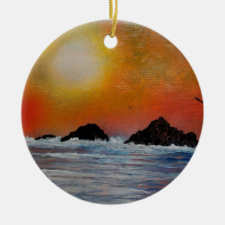 Wintry sunset at sea ceramic ornament