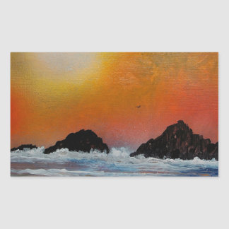 Wintry sunset at sea rectangular sticker