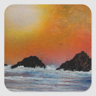 Wintry sunset at sea square sticker