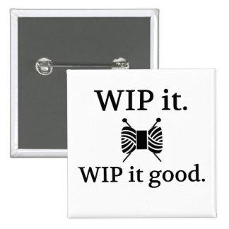 WIP él bueno - haciendo punto Pin Cuadrado