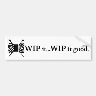 WIP que hace punto él buen humor del hilado del Pegatina Para Auto
