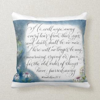 Wipe our tears handwritten encouraging verse pillow