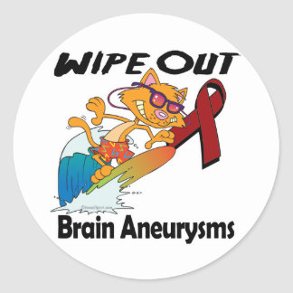 Wipe Out Brain Aneurysms Classic Round Sticker
