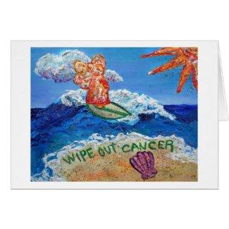 Wipe Out Cancer Angel Art Custom Greeting Card