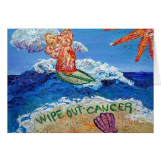Wipe Out Cancer Angel Art Custom Greeting Cards