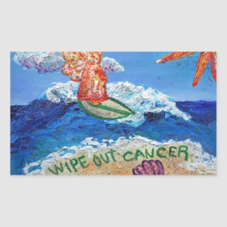Wipe Out Cancer Angel Art Sticker Decals