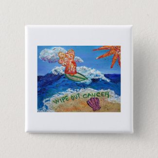 Wipe Out Cancer Angel Button