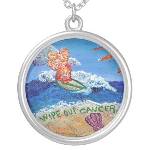 Wipe Out Cancer Angel Silver Necklace