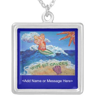 Wipe Out Cancer Angel Silver Necklace Customized