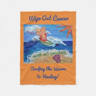 Wipe Out Cancer Surfing Angel Soft Fleece Blanket