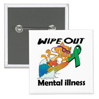 Wipe Out Mental Illness (Green) 2 Inch Square Button