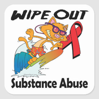 Wipe Out Substance Abuse Square Stickers