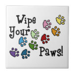 """Wipe Your Paws Ceramic Tile<br><div class=""""desc"""">Send your friends these cute paw prints! My dog walks all over me.  It's sure to bring a smile!</div>"""