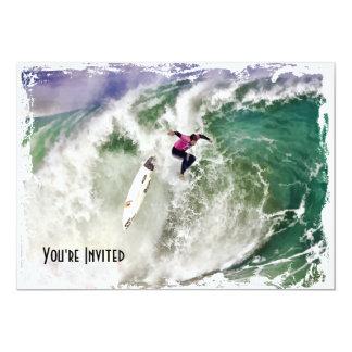 """Wipeout que practica surf invitación 5"""" x 7"""""""
