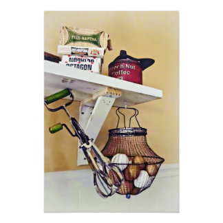 Wire Basket Of Eggs And Egg Beater Poster