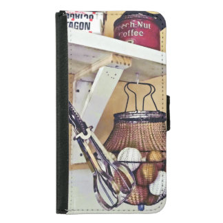 Wire Basket Of Eggs And Egg Beater Wallet Phone Case For Samsung Galaxy S5